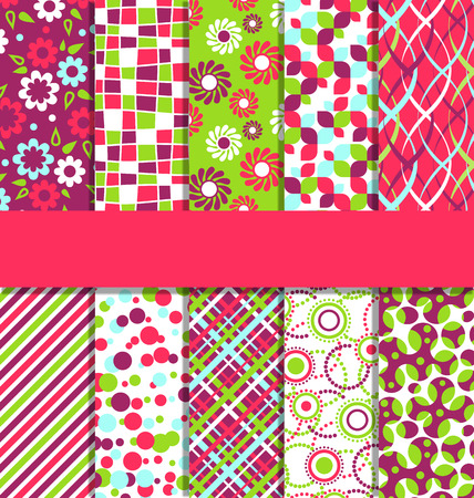 Set of 10 Seamless Bright Fun Abstract Patterns
