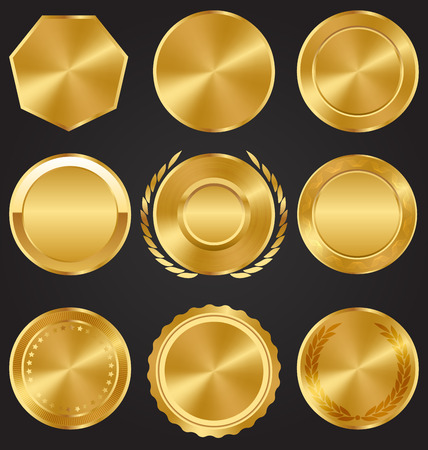 win win: Golden Premium Quality Medals Collection on Dark Background