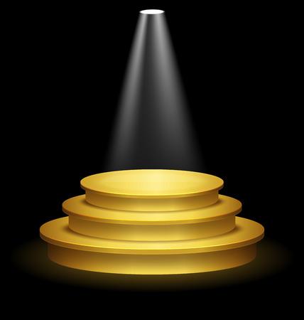 Illuminated Festive Golden Premium Stage Podium on Black Background