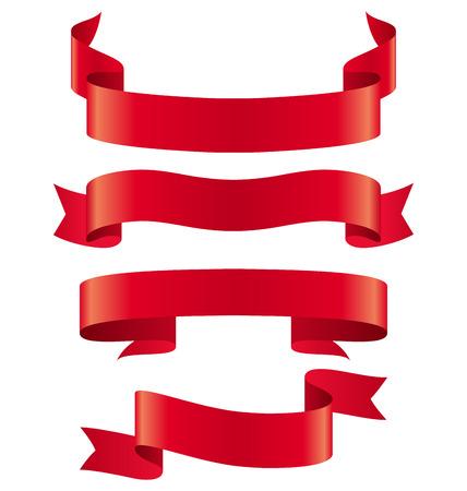 Viering Gebogen Linten Variaties die op Witte Achtergrond Stock Illustratie