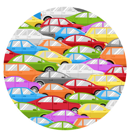megalopolis: Traffic Jam With Cars Circle Icon Isolated on White Background Illustration