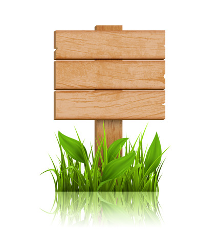 eco notice: Wooden Signpost with Grass and Reflection on White Background