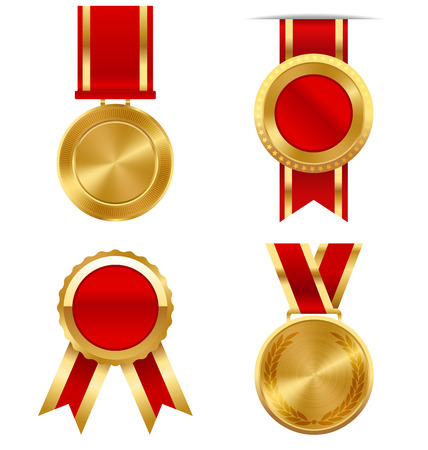 medal ribbon: Golden Premium Quality Best Labels Medals Collection Isolated on White Background