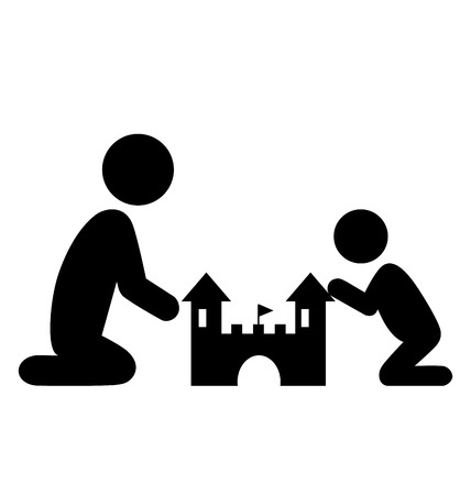 sandpit: Pictograms Flat Family Icon with Sand Castle Isolated on White Background