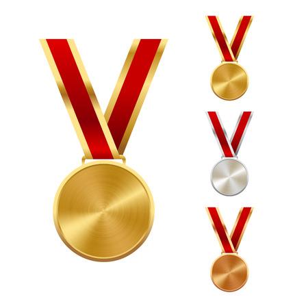 ganador: De plata y de oro Ganadores Bronce Medallas aislados sobre fondo blanco Vectores