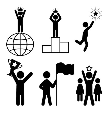 monopoly: Win Leader People Flat Icons Pictogram Isolated on White Background