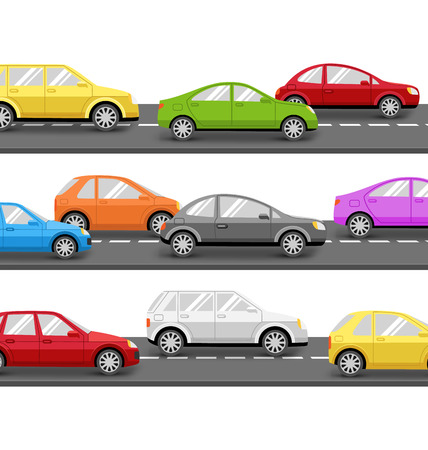 speed car: Multicolored Cars on Road. Transport Background Stock Photo