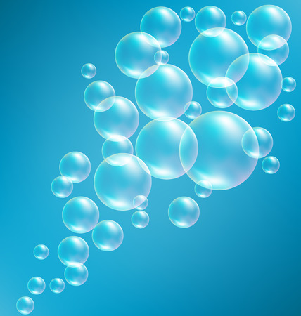 bleb: Transparent Soap Bubbles like Frame on Blue Background Stock Photo
