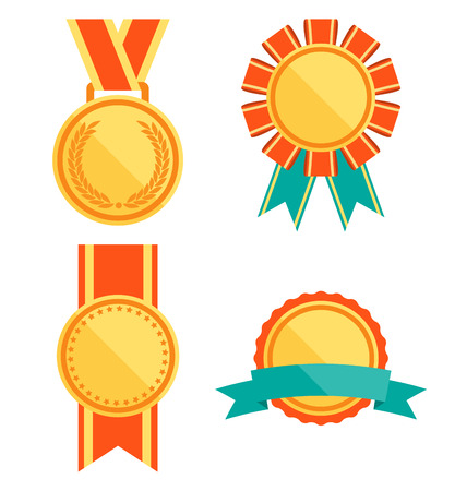 medal: Golden Premium Quality Best Flat Labels Medals Collection Isolated on White Background