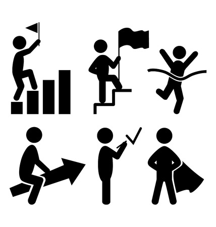 pictogram people: Success People Flat Icons Pictogram Isolated on White Background