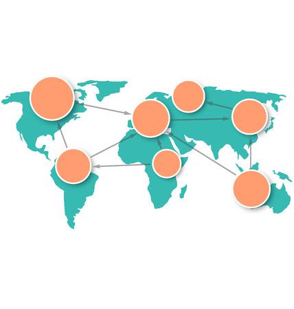 世界地図には、白い背景で隔離サークル情報マーク