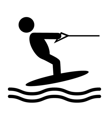 Summer Water Sport Pictograms Flat People Icons Isolated on White Background Stock Photo