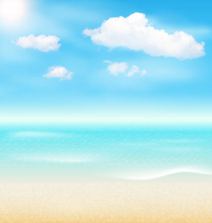 shore: Beach Seaside Sea Shore Clouds. Summer Holiday Vacation Background