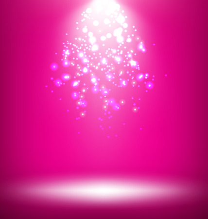 win win: Illuminated Stage with Light Template on Pink Background Stock Photo