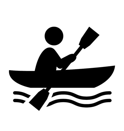 row boat: Summer Water Sport Pictogram Row on Boat Flat People Icon Isolated on White Background