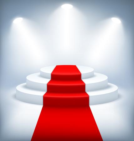 laureate: Illuminated Festive Stage Podium on White Background Stock Photo