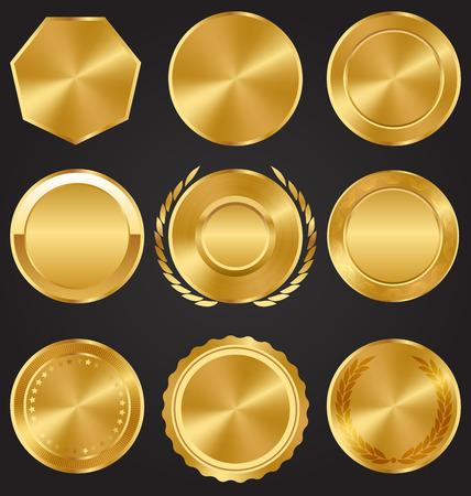 laureate: Golden Premium Quality Best Labels Medals Collection on Dark Background