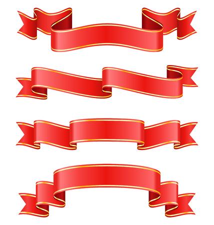 ribbon background: Celebration Curved Ribbons Variations Isolated on White Background