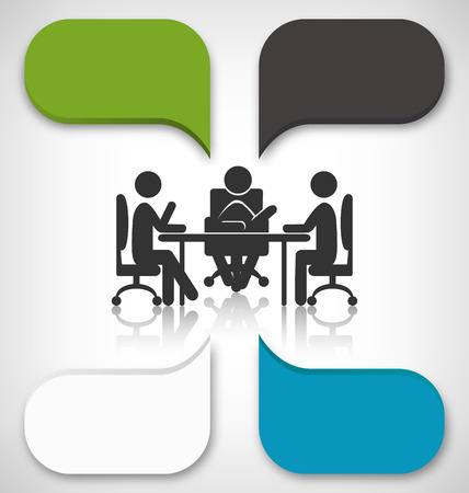 grayscale background: Infographic Element Business Meeting on Grayscale Background Illustration