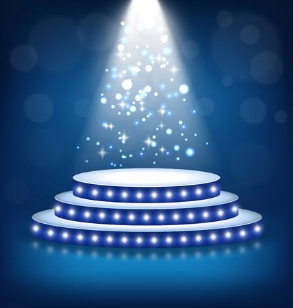 Illumination festive Scène Podium avec Lampes sur fond bleu Illustration
