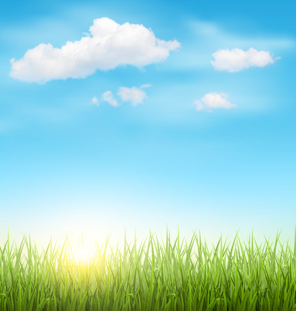 Green Grass Lawn with Clouds and Sun on Light Blue Sky