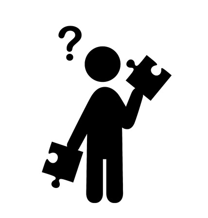 puzzlement: Confusion Man with Puzzle People with Question Mark Flat Icons Pictogram Isolated on White Background Illustration