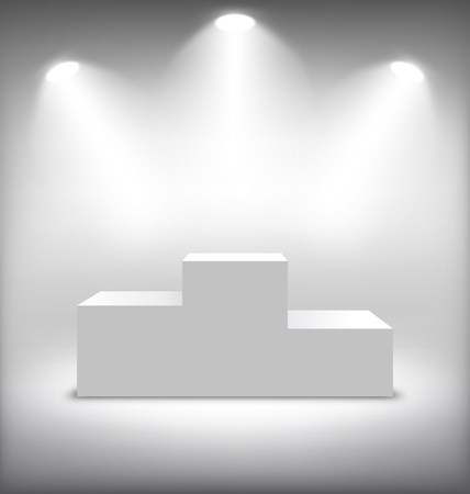 Festive Illuminated Winners Stage on White Background
