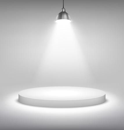 grayscale background: Illuminated White Stand Podium to Place Object Template on Grayscale Background