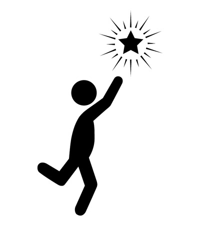 Atteindre l'étoile populaire plates Icônes pictogramme isolé sur fond blanc