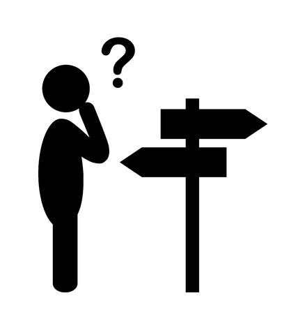 navigation pictogram: Confusion People with Navigation Arrows and Question Mark Flat Icons Pictogram Isolated on White Background Illustration