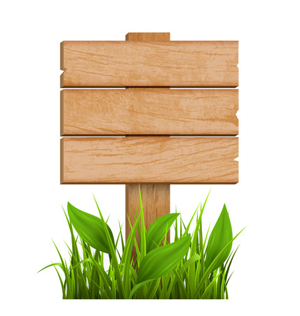 eco notice: Wooden Signpost with Grass Isolated on White Background