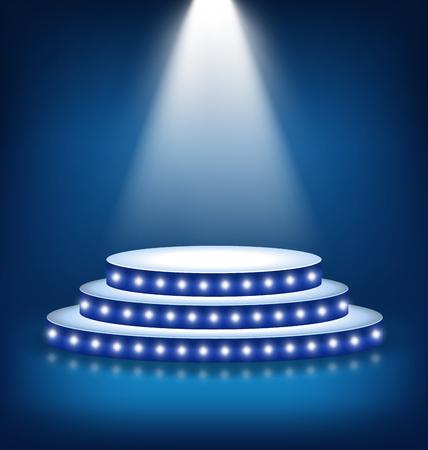festive background: Illuminated Festive Stage Podium with Lamps on Blue Background Illustration
