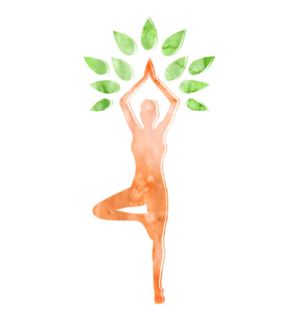 Woman in Yoga Tree Pose Isolated on White Background Illustration