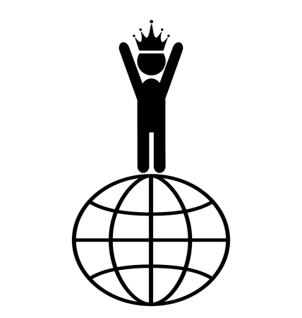 laureate: King of the World Win Leader People Flat Icons Pictogram Isolated on White Background Illustration