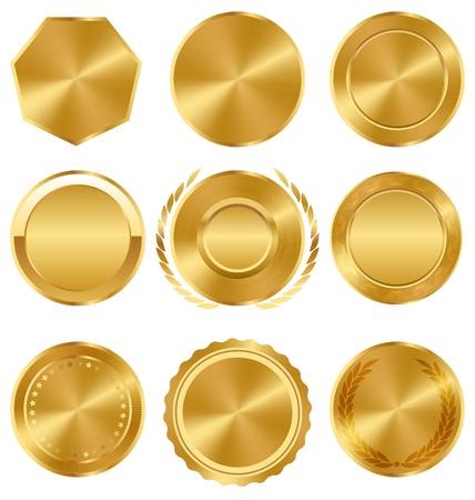 best quality: Golden Premium Quality Best Labels Medals Collection on White Background