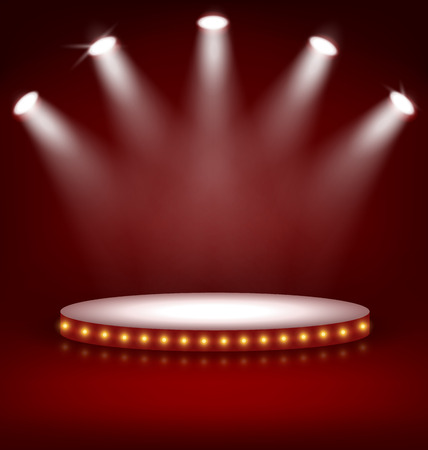 Illumination festive Scène Podium avec Lampes sur fond rouge Illustration