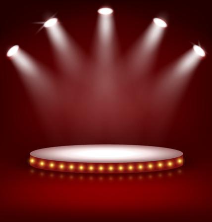 Verlicht Feestelijke Stage Podium met lampen op rode achtergrond