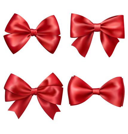 白い背景に分離されたお祝いの赤いサテンの弓のセットのコレクション