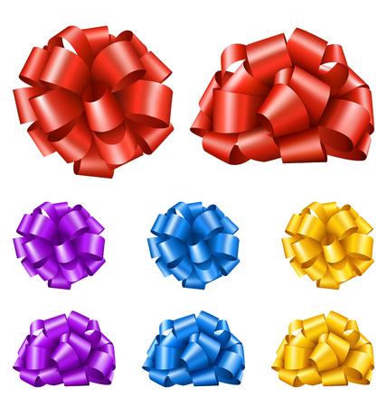 Set Collection de Colorful Festive Ribbon Bows isolé sur fond blanc