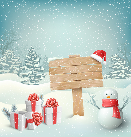 snowman: Winter Christmas Background with Wooden Signpost Snowman and Gift Boxes