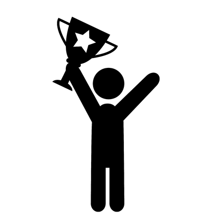 laureate: People Man with Winner Cup Flat Icons Pictogram Isolated on White Background