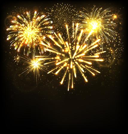 黒の背景にお祝い花火敬礼でバースト