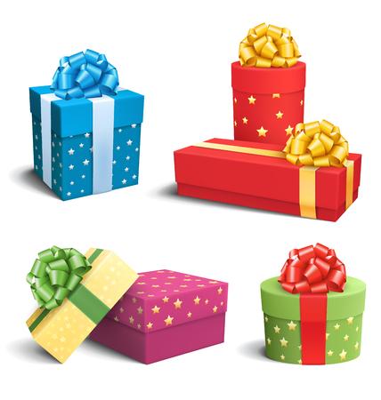 Metta la raccolta dei contenitori di regalo variopinti di celebrazione con gli archi isolati su fondo bianco Archivio Fotografico - 45984853