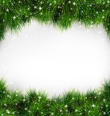 白い背景の上の降雪でフレームのような光沢のあるクリスマス ツリーの緑松の枝 写真素材