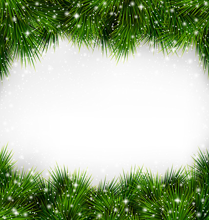 christmas holiday: Shiny Green Christmas Tree Pine Branches Like Frame with Snowfall on White Background