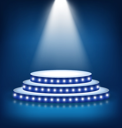 background: Illuminated Festive Stage Podium with Lamps on Blue Background Stock Photo