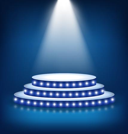 Verlichte Feestelijke Stage Podium met lampen op blauwe achtergrond Stockfoto