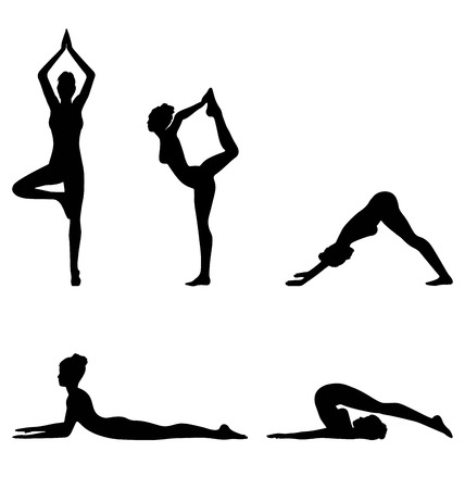 tree symbol: Woman in Yoga Pose Set Isolated on White Background Stock Photo