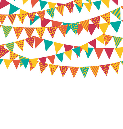 greet card: Multicolored Bright Buntings Garlands Flags with Ornament Isolated on White Background