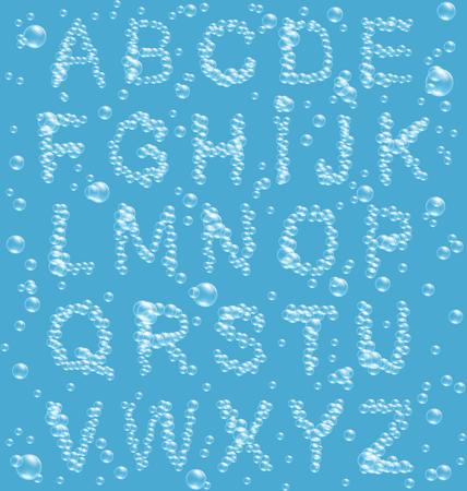 air bubbles: Air Bubbles Alphabet on Blue Background